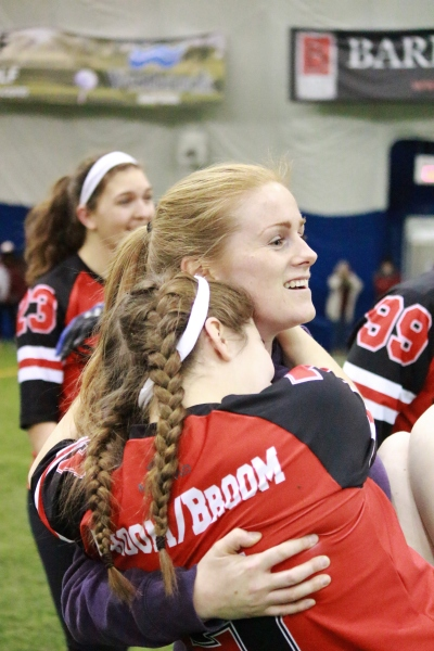 Cait Woolner and Zoe Mastellotto of Carleton University Quidditch. (Photo by Vivian Cheung)